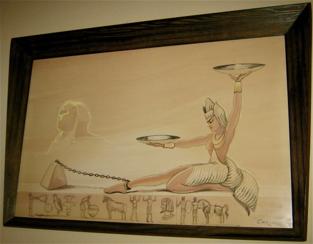 Huge Carlo of Hollywood Egyptian Watercolor Painting