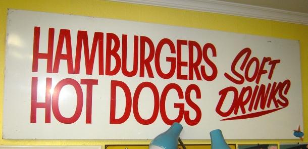 XL Metal Hamburger Sign
