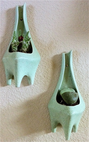 Pair of 1950's wall pocket planters.