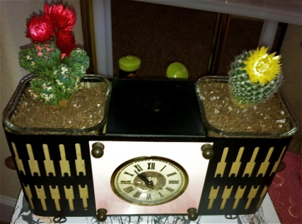 Clock and a planter?! I love the little flowers on these cactus