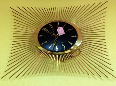 Gold Metal Starburst Clock