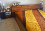 FOR SALE: Mid-Century Rosewood(?) King Size Bed with Aiwa Stereo Nightstands