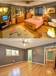 Master Bedroom: Before & after packing.