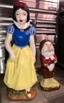 Vintage Snow White and Grumpy Cement Lawn Statues